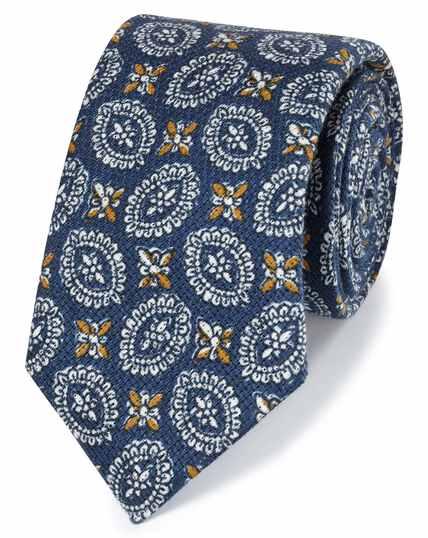 Cravate luxe bleu marine en coton et lin italiens à motif imprimé