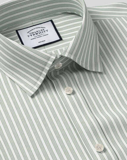 Classic Collar Non-Iron Poplin Stripe Shirt- Green