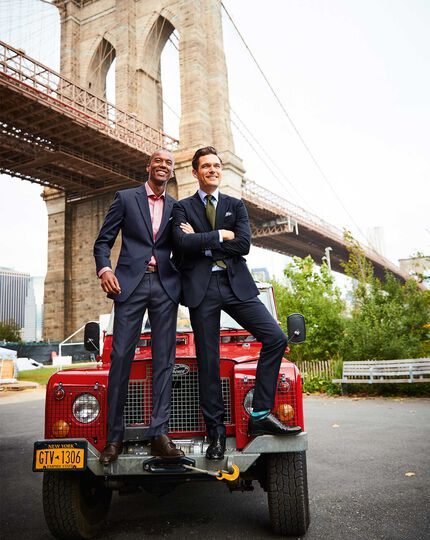 Slim Fit Businessanzug-Hose aus Twill in Mittelblau
