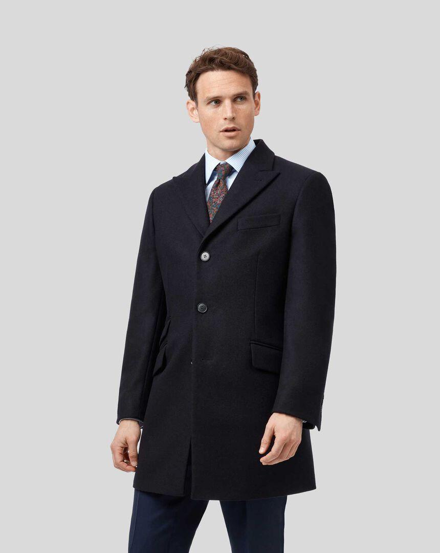 Italian Wool Cashmere Epsom Coat - Navy