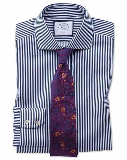 Slim fit non-iron cutaway collar navy twill stripe shirt