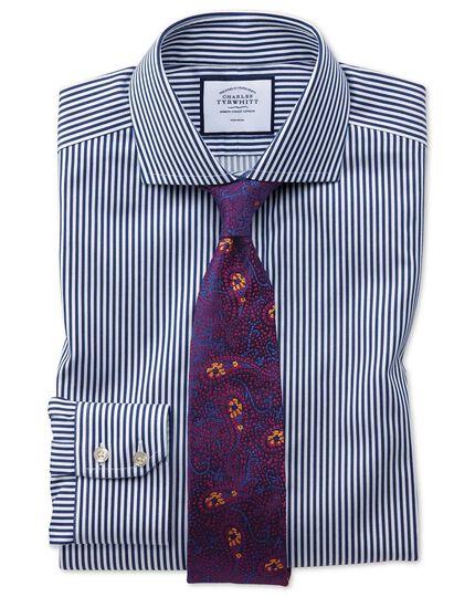 Slim fit non-iron spread collar navy twill stripe shirt