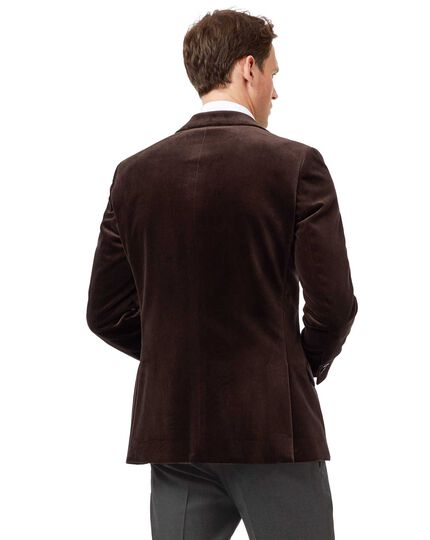 Slim fit brown velvet jacket