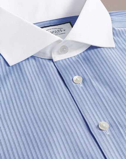 Slim fit non-iron spread collar Winchester blue and white stripe shirt