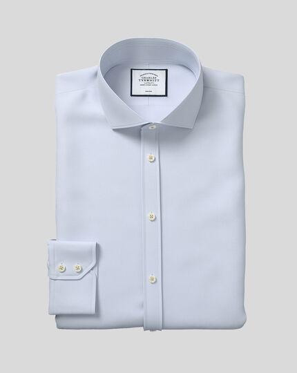 Bügelfreies Twill Hemd mit Haifischkragen - Silber