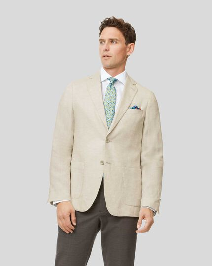 Plain Linen Jacket - Cream
