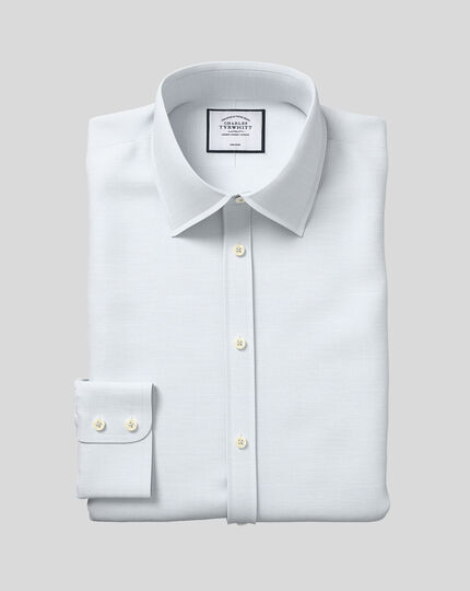 Classic Collar Non-Iron Cotton Slub Shirt - Light Blue