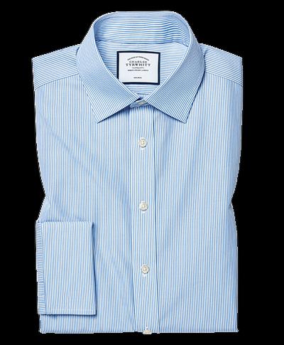 Slim fit non-iron sky blue Bengal stripe shirt