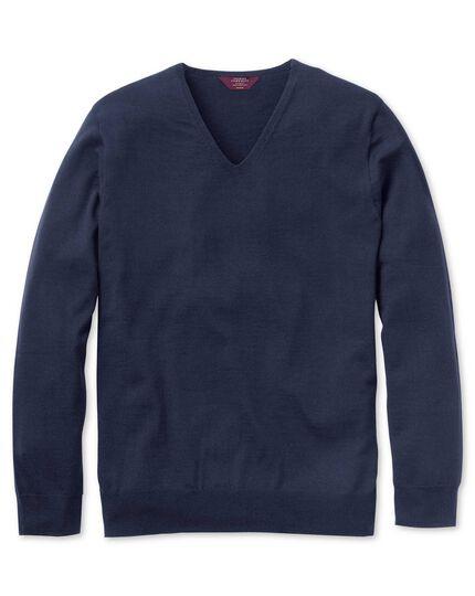Navy extrafine merino seamless v-neck sweater