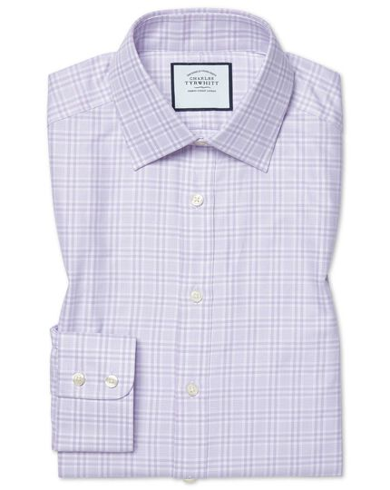 Slim fit brushed-back basketweave lilac check shirt