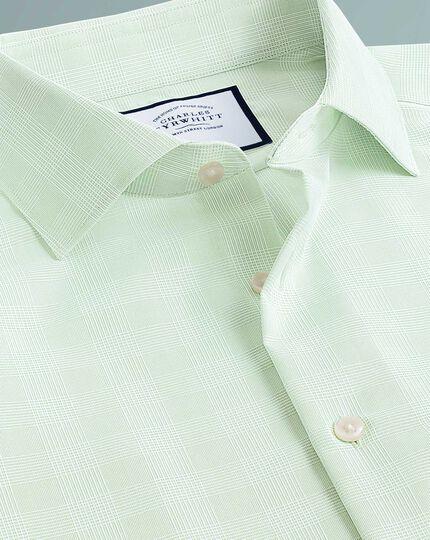 Chemise business casual verte à carreaux coupe droite sans repassage