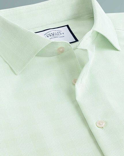 Slim fit business casual non-iron green check shirt