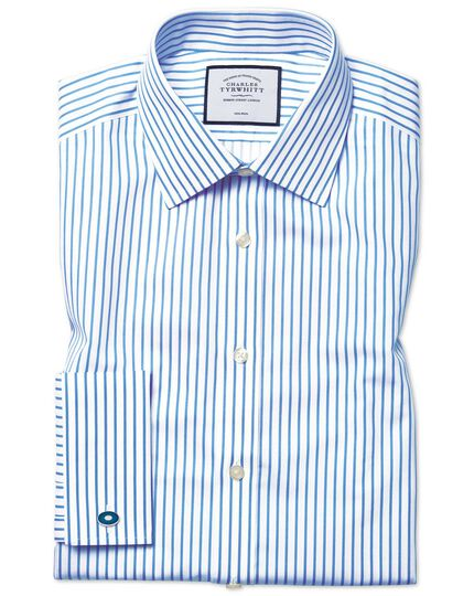 Classic fit non-iron sky blue stripe twill shirt