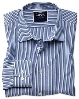 Chemise bleue en tissu doux délavé à rayures coupe droite