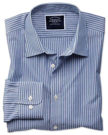 Slim fit blue stripe soft washed shirt