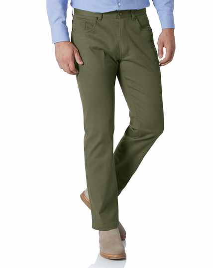 Olive slim fit 5 pocket trousers