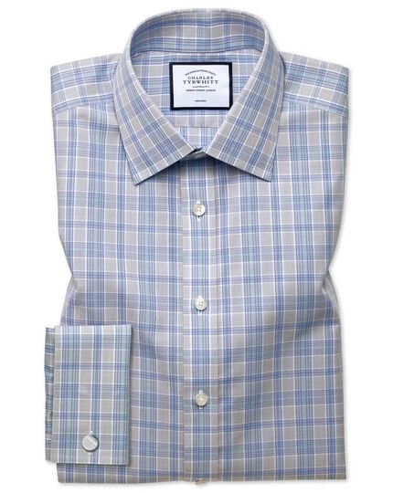 Non-Iron Prince Of Wales Shirt - Grey And Aqua