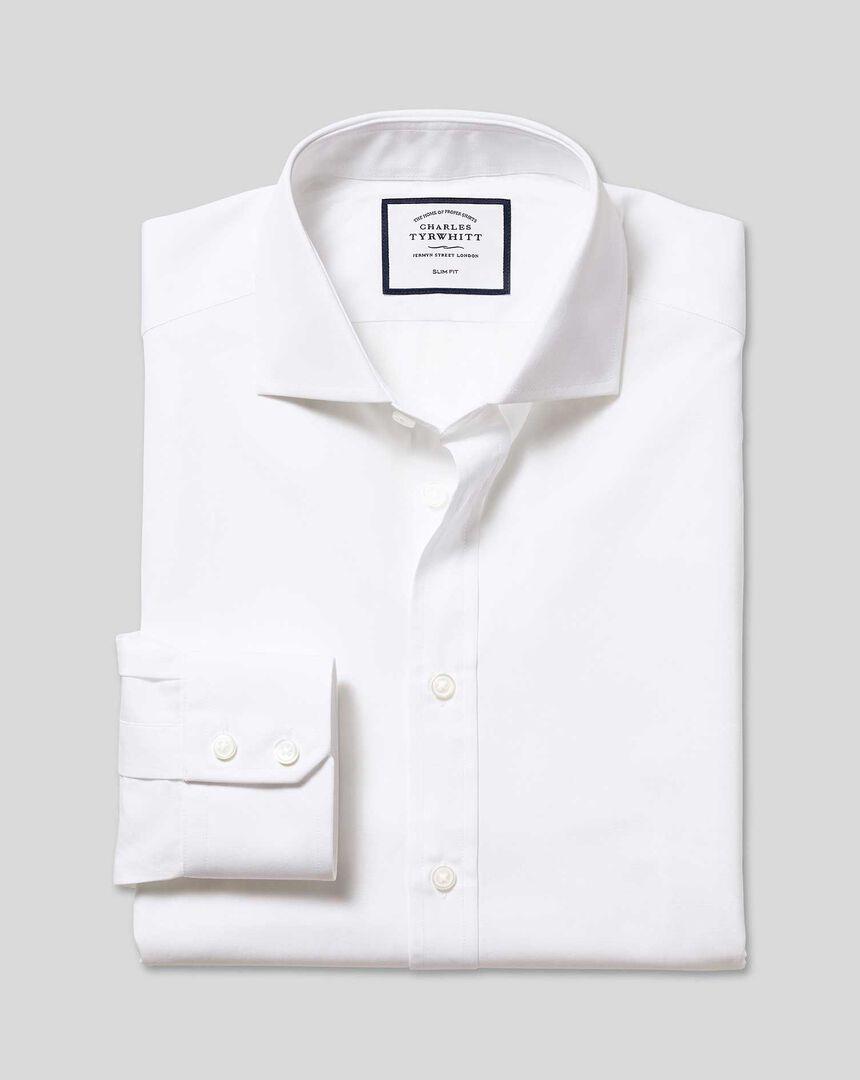 Cutaway Collar Egyptian Cotton Poplin Shirt   White