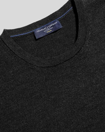 Merino Crew Neck Jumper - Dark Charcoal