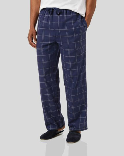 Check Pajama Bottoms - Navy & White