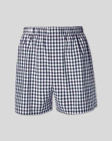 Gingham Woven Boxers - Navy