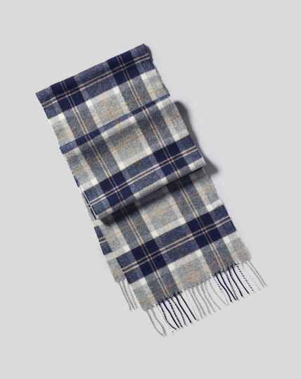 Lambswool Check Scarf - Navy & Grey