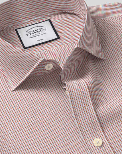 Cutaway Collar Non-Iron Dobby Shirt - Berry