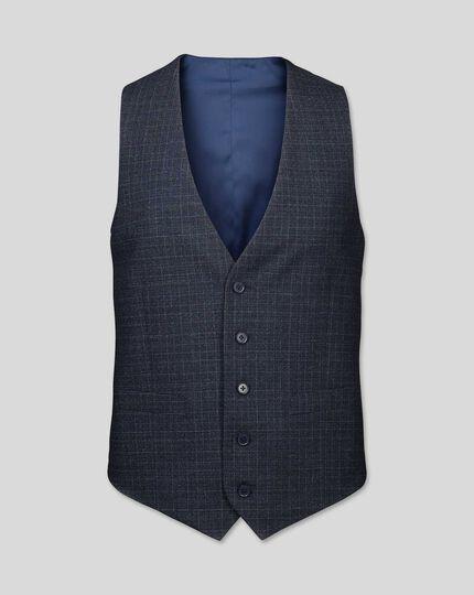 Grid Check Suit Vest - Blue