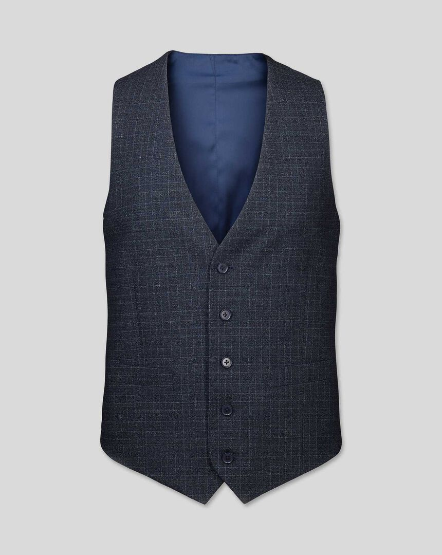 Grid Check Suit Vest - Blue