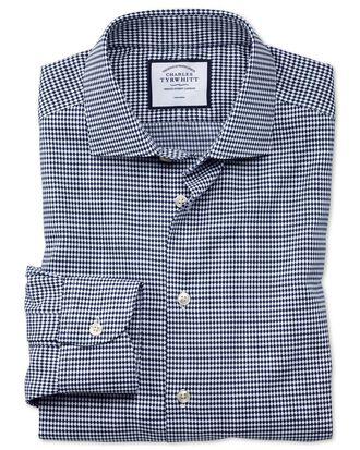 Chemise dobby business casual bleu marine à imprimé ovales coupe droite sans repassage