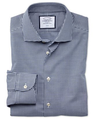 Slim fit business casual non-iron navy oval dobby shirt