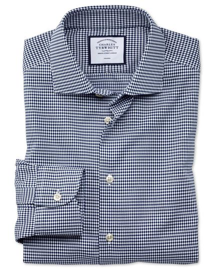 Extra slim fit business casual non-iron navy oval dobby shirt