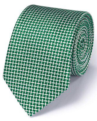 Klassische Seidenkrawatte in Grün mit Diamantengitter