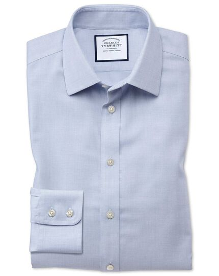 Classic fit non-iron step weave mid blue shirt