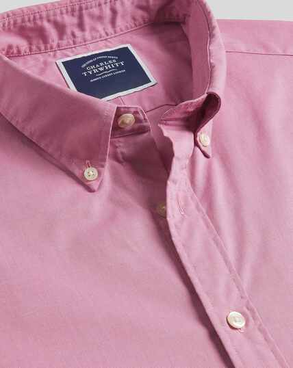 Button-Down Collar Short Sleeve Soft Washed Stretch Poplin Shirt - Pink