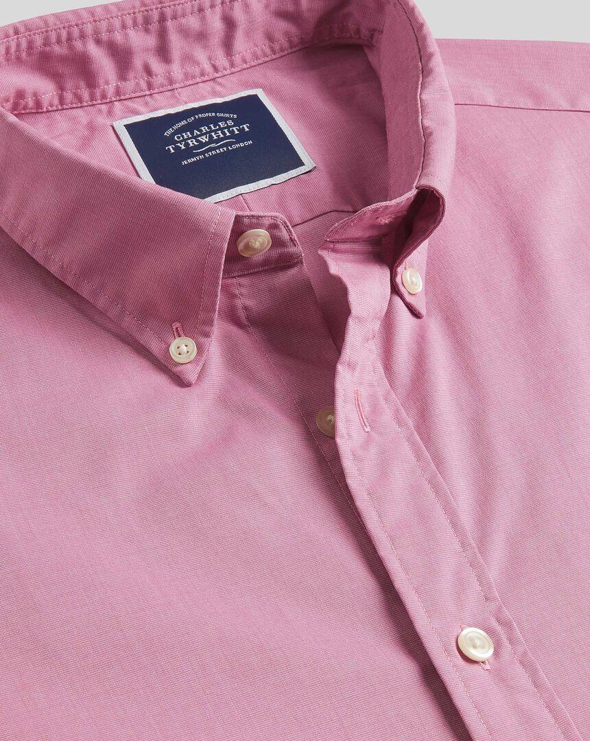 Button-Down Collar Short Sleeve Soft Washed Stretch Poplin Shirt - Pink