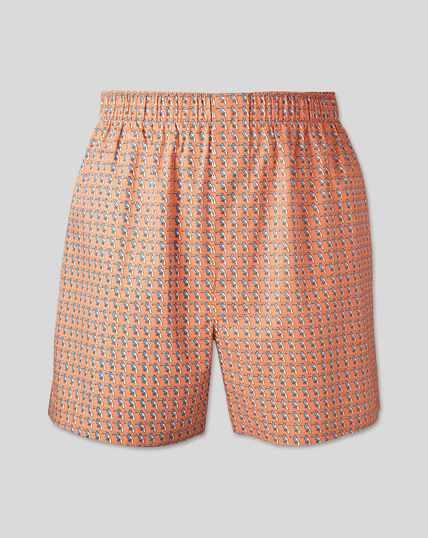 Toucan Motif Woven Boxers - Peach