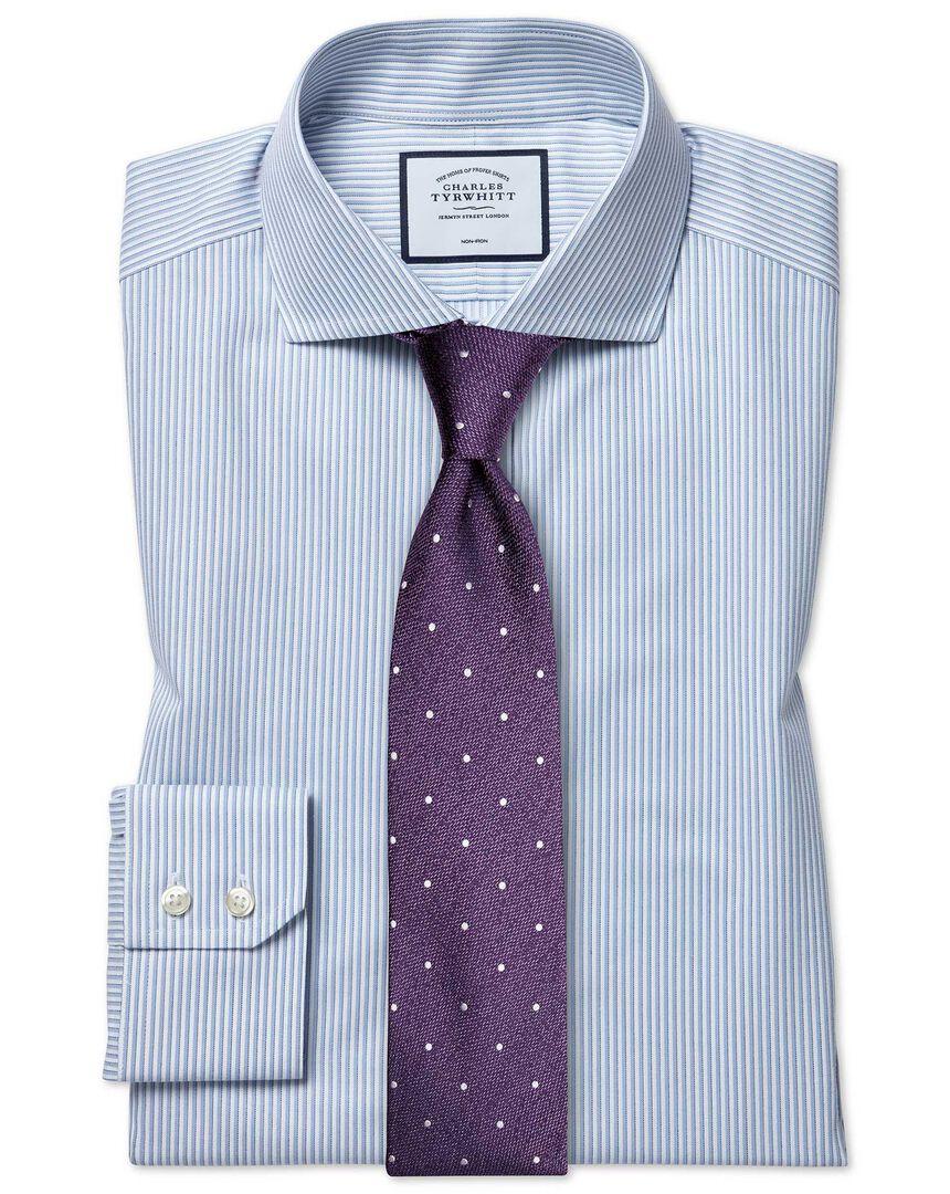 Slim fit non-iron soft twill sky blue stripe cutaway shirt
