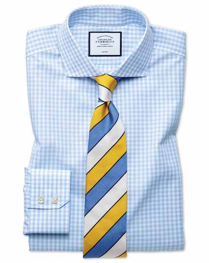 Classic fit non-iron sky blue check Tyrwhitt Cool shirt