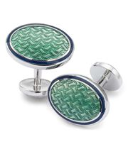 Light green enamel basketweave oval cufflinks