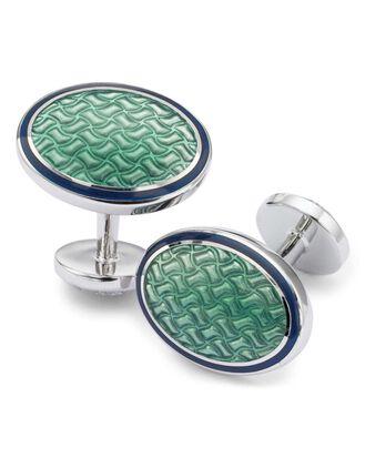 Boutons de manchette vert clair ovales à motif armure nattée en émail