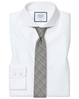 Extra slim fit white non-iron twill extreme spread collar shirt