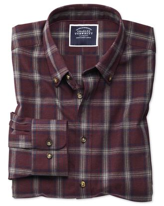 Slim fit burgundy and blue check herringbone melange shirt