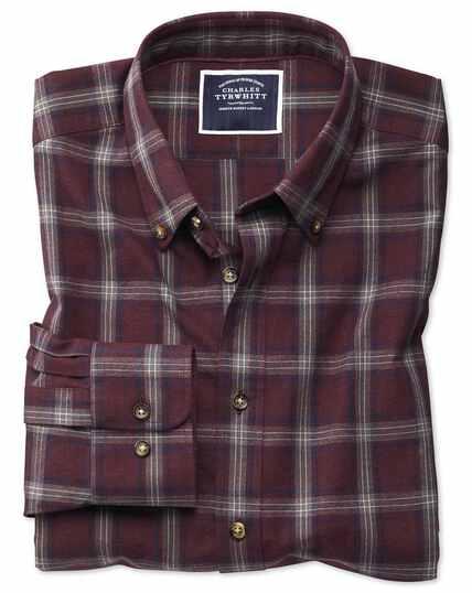 Extra slim fit burgundy and blue check herringbone melange shirt