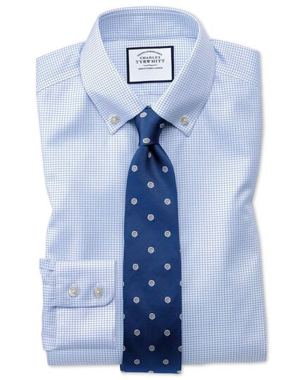 Extra slim fit button-down non-iron twill mini grid check sky blue shirt