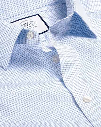 Non-Iron Twill Mini Grid Check Shirt - Sky