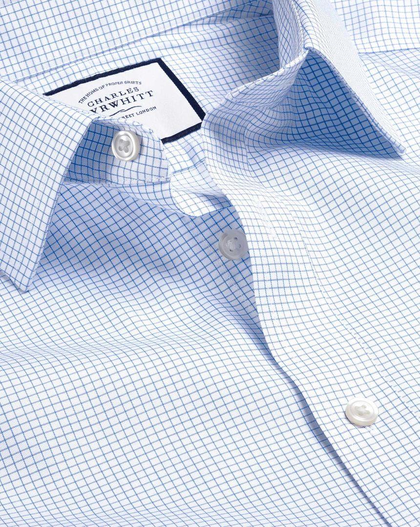 Bügelfreies Twill-Hemd mit Mini-Gitterkaros - Himmelblau