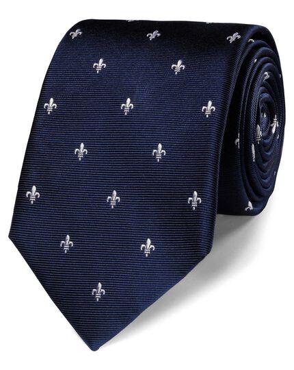 Cravate classique bleu marine en soie avec fleurs de lys
