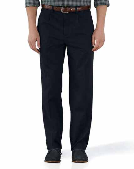 Navy classic fit single pleat washed chinos