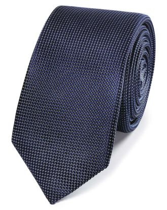 Schmale Krawatte mit Mini-Nadelpunkten in Marineblau